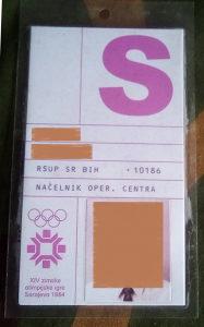 Propusnica za XIV ZOI 84 Sarajevo