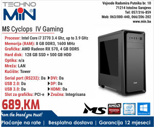 MS Cyclops IV Gaming, i7 3770 3.4/8/128SSD500/Tower