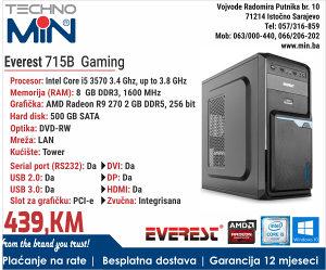 Everest 715B Gaming, i5 3570 3.4/8/500/DVD-RW/2GB DDR5