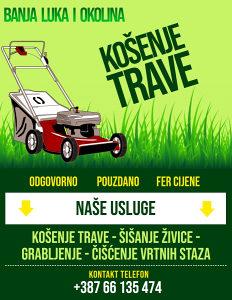 Banja Luka-Košenje trave Uređenje i košenje travnjaka