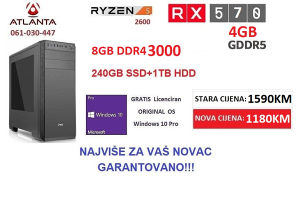 RYZEN 5 2600/8GB DDR4/240SSD 1TB HDD/RX 580
