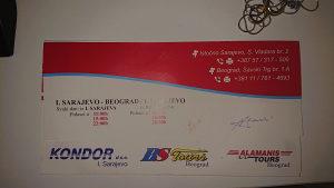Povratna autobuska karta Sarajevo - Beograd