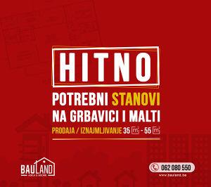 BAULAND POTRAŽUJE / STAN / 35-55 m2 / Grbavica Malta