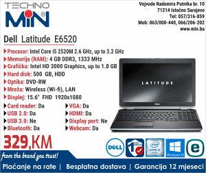 Dell Latitude E6520, i5 2520M 2.5/4/500/RW/Cam