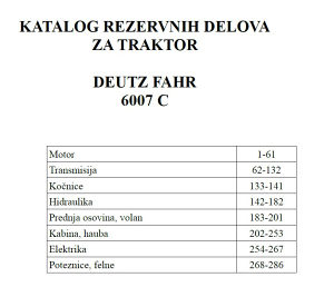 Deutz Fahr 6007 C - Katalog dijelova