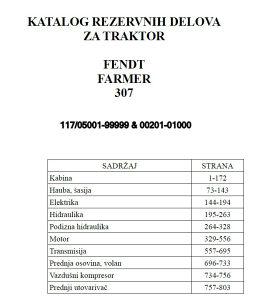 Fendt Farmer 307 (FWA 117) - Katalog dijleova