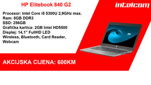HP Elitebook 840 G2,i5 5300U, 8GB DDR, 256GB SSD
