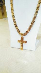 Zlato lanac kraljevski rad 10 mm sa krstom mod 1.