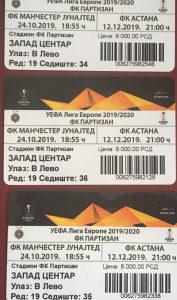 Prodajem 3 karte Partizan - Astana