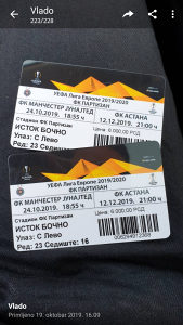 Partizan vs Astana 2x karte Istok