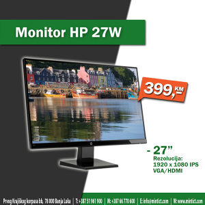 "Monitor HP 27W - 27"", IPS, HDMI"