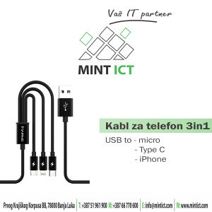 Kabl za telefon 3 in 1 Android/iPhone/Type C