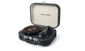 Muse Gramofon sa stereo zvučnicima, crni
