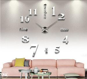 Sat zidni 3D srebreni dekorativni veliki