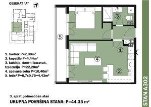 NOVOGRADNJA Green Home, Dvosoban stan 44m2 sa lođom