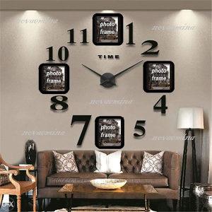 Sat zidni 3D dekorativni s okvirima za fotografije crni