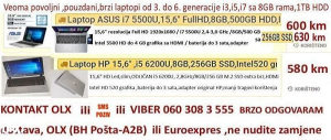 "Laptopi nove gen. 15,6-17,3"" i3,i5,i7 od 5-6gen,8GB,1TB"