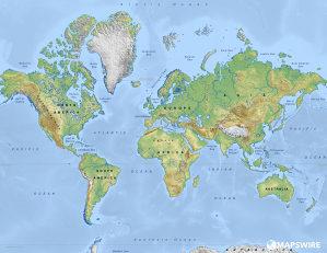 Karta svijeta zidna sa letvicama 118x81 cm