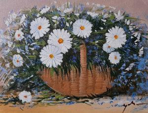 Umjetnicka slika, Cvijece, Uramljena