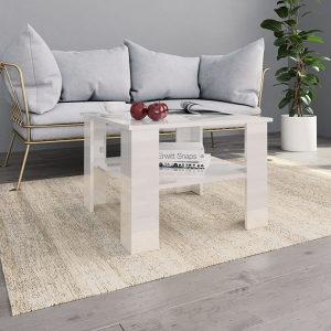 Stolić za kavu visoki sjaj bijeli 60 x 60 x 42 cm od iv