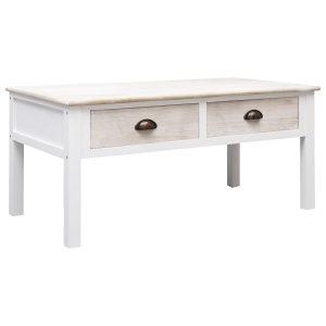 Stolić za kavu bijela i prirodna boja 100 x 50 x 45 cm