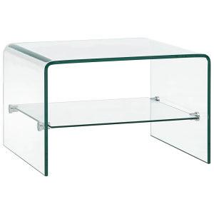 Stolić za kavu prozirni 50 x 45 x 33 cm od kaljenog sta
