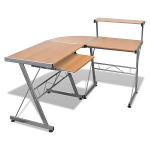 Smeđi uredski stol za računalo sa policom za tipkovnicu