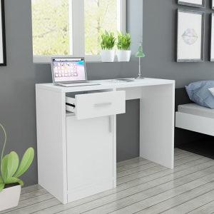 Stol s ladicom i ormarićem Bijeli 100x40x73 cm