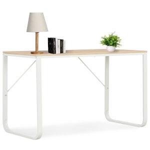 Stol za računalo bijeli i boja hrasta 120 x 60 x 73 cm