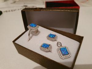 Komplet srebro opal baby blue 925