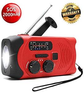 Radio svjetiljka na namotavanje i solar, USB 2000mAh