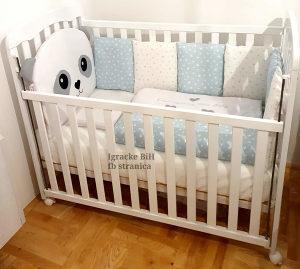 Krevetac za bebe puno drvo+madrac+ogradica više boja