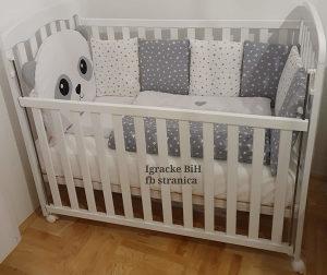Krevetac za bebe puno drvo madrac + ogradica više boja