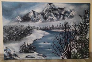 """Umjetnička slika ulje na platnu """"Zimski krajolik"""""""